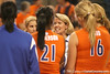 photo by Tim Casey<br /> <br /> Florida volleyball head coach Mary Wise talks to her team after the Gators' sweep of the South Carolina Gamecock on Wednesday, October 15, 2008 at the Stephen C. O'Connell Center in Gainesville, Fla.