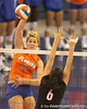 photo by Tim Casey<br /> <br /> Florida redshirt freshman outside hitter Kristy Jaeckel makes an attack during the Gators' sweep of the South Carolina Gamecock on Wednesday, October 15, 2008 at the Stephen C. O'Connell Center in Gainesville, Fla.