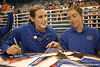 080824_SmithBetsyBatheltCindy_6296_TCasey<br /> <br /> photo by Tim Casey<br /> <br /> during the Florida volleyball team's annual Fan Day and Orange and Blue Scrimmage on Sunday, August 24, 2008 at the Stephen C. O'Connell Center in Gainesville, Fla.
