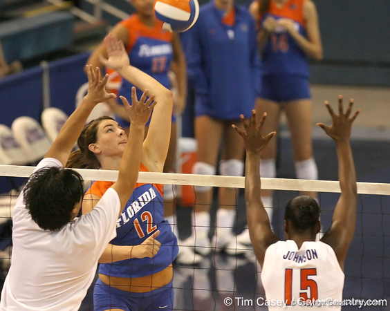 080824_MurphyKelly_6565_TCasey<br /> <br /> photo by Tim Casey<br /> <br /> during the Florida volleyball team's annual Fan Day and Orange and Blue Scrimmage on Sunday, August 24, 2008 at the Stephen C. O'Connell Center in Gainesville, Fla.