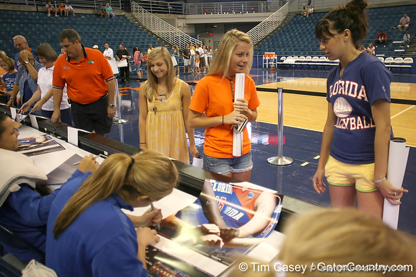 080824_fanday_6284_TCasey<br /> <br /> photo by Tim Casey<br /> <br /> during the Florida volleyball team's annual Fan Day and Orange and Blue Scrimmage on Sunday, August 24, 2008 at the Stephen C. O'Connell Center in Gainesville, Fla.