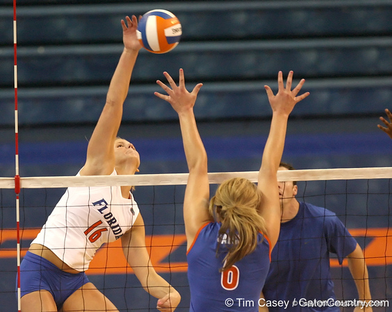 080824_WardColleen_6592_TCasey<br /> <br /> photo by Tim Casey<br /> <br /> during the Florida volleyball team's annual Fan Day and Orange and Blue Scrimmage on Sunday, August 24, 2008 at the Stephen C. O'Connell Center in Gainesville, Fla.