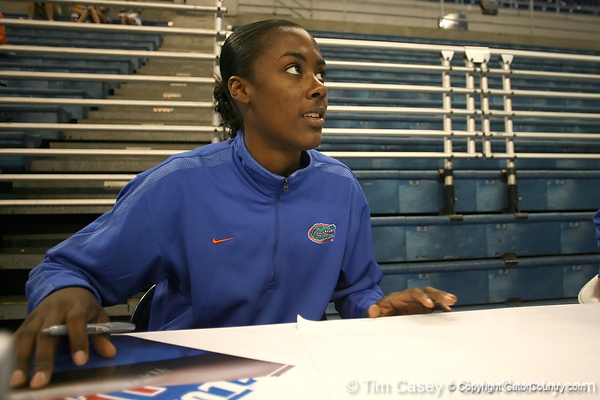 080824_JohnsonKristina_6313_TCasey<br /> <br /> photo by Tim Casey<br /> <br /> during the Florida volleyball team's annual Fan Day and Orange and Blue Scrimmage on Sunday, August 24, 2008 at the Stephen C. O'Connell Center in Gainesville, Fla.