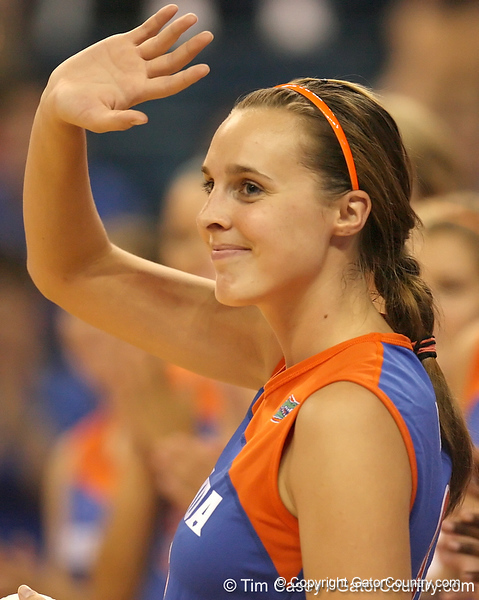 080824_BowersKelsey_6365_TCasey<br /> <br /> photo by Tim Casey<br /> <br /> during the Florida volleyball team's annual Fan Day and Orange and Blue Scrimmage on Sunday, August 24, 2008 at the Stephen C. O'Connell Center in Gainesville, Fla.