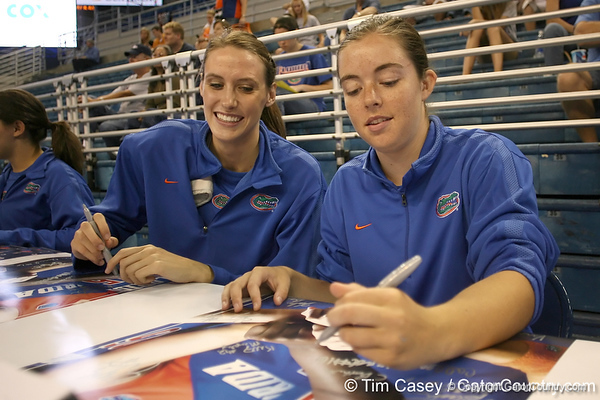 080824_SmithBetsyBatheltCindy_6294_TCasey<br /> <br /> photo by Tim Casey<br /> <br /> during the Florida volleyball team's annual Fan Day and Orange and Blue Scrimmage on Sunday, August 24, 2008 at the Stephen C. O'Connell Center in Gainesville, Fla.
