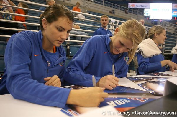 080824_MurphyKellyWardColleen_6297_TCasey<br /> <br /> photo by Tim Casey<br /> <br /> during the Florida volleyball team's annual Fan Day and Orange and Blue Scrimmage on Sunday, August 24, 2008 at the Stephen C. O'Connell Center in Gainesville, Fla.