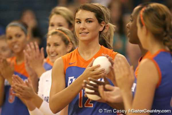 080824_MurphyKelly_6358_TCasey<br /> <br /> photo by Tim Casey<br /> <br /> during the Florida volleyball team's annual Fan Day and Orange and Blue Scrimmage on Sunday, August 24, 2008 at the Stephen C. O'Connell Center in Gainesville, Fla.