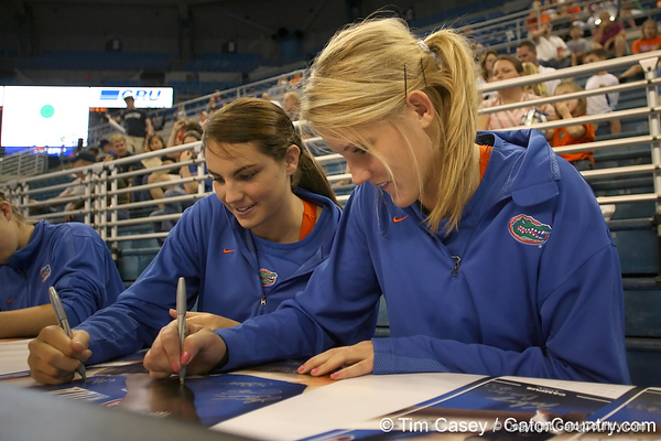 080824_MurphyKellyWardColleen_6301_TCasey<br /> <br /> photo by Tim Casey<br /> <br /> during the Florida volleyball team's annual Fan Day and Orange and Blue Scrimmage on Sunday, August 24, 2008 at the Stephen C. O'Connell Center in Gainesville, Fla.