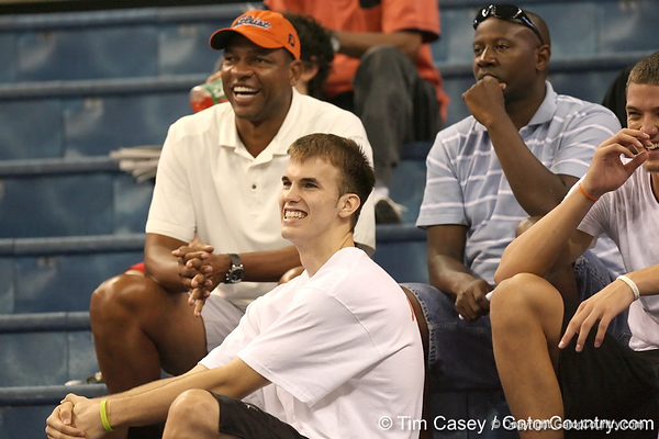 080824_RiversDocCalathesNick_6522_TCasey<br /> <br /> photo by Tim Casey<br /> <br /> during the Florida volleyball team's annual Fan Day and Orange and Blue Scrimmage on Sunday, August 24, 2008 at the Stephen C. O'Connell Center in Gainesville, Fla.
