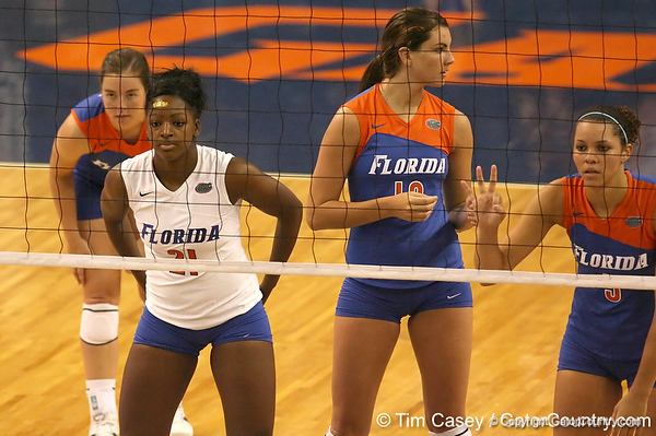 080824_AndersonCassandra_6555_TCasey<br /> <br /> photo by Tim Casey<br /> <br /> during the Florida volleyball team's annual Fan Day and Orange and Blue Scrimmage on Sunday, August 24, 2008 at the Stephen C. O'Connell Center in Gainesville, Fla.