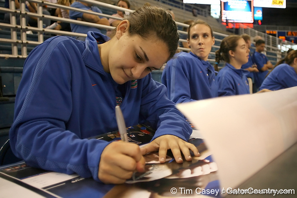 080824_HausmannElissa_6293_TCasey<br /> <br /> photo by Tim Casey<br /> <br /> during the Florida volleyball team's annual Fan Day and Orange and Blue Scrimmage on Sunday, August 24, 2008 at the Stephen C. O'Connell Center in Gainesville, Fla.