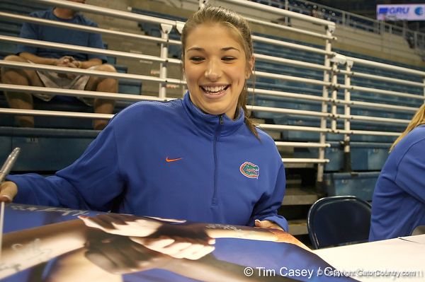 080824_FlemingErin_6306_TCasey<br /> <br /> photo by Tim Casey<br /> <br /> during the Florida volleyball team's annual Fan Day and Orange and Blue Scrimmage on Sunday, August 24, 2008 at the Stephen C. O'Connell Center in Gainesville, Fla.