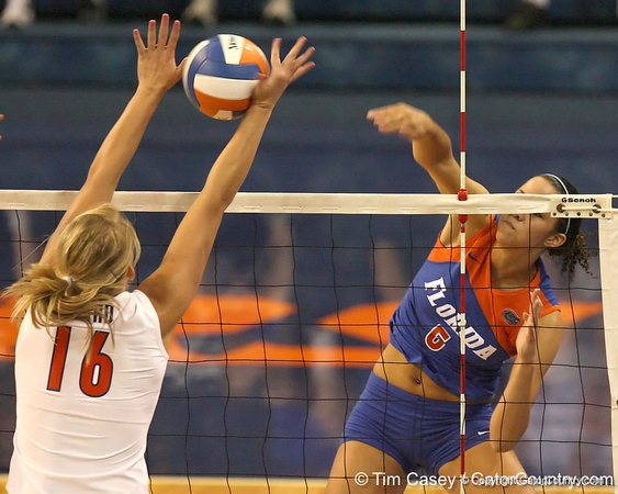 080824_RiversCallie_6563_TCasey<br /> <br /> photo by Tim Casey<br /> <br /> during the Florida volleyball team's annual Fan Day and Orange and Blue Scrimmage on Sunday, August 24, 2008 at the Stephen C. O'Connell Center in Gainesville, Fla.