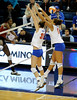 UF senior Kelsey Bowers and sophomore Lauren Bledsoe unsuccessfully block a shot by an Alabama player during the third set. The Gators clinched their last home game with a 3-0 win over the Crimson Tide at the O'Connell Center on Saturday, November 23, 2008. (Casey Brooke Lawson / Gator Country)