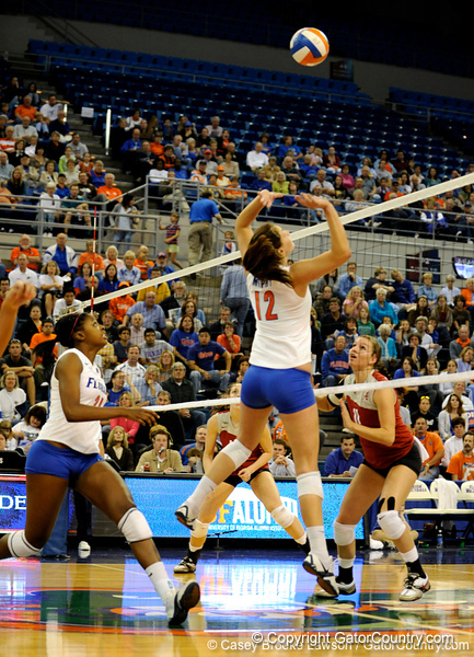 UF freshman Kelly Murphy jumps to take a shot during the second set. The Gators clinched their last home game with a 3-0 win over the Crimson Tide at the O'Connell Center on Saturday, November 23, 2008. (Casey Brooke Lawson / Gator Country)