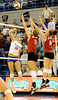 UF freshman Colleen Ward spikes the ball during the second set. The Gators clinched their last home game with a 3-0 win over the Crimson Tide at the O'Connell Center on Saturday, November 23, 2008. (Casey Brooke Lawson / Gator Country)