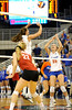 UF sophomore Kelly Murphy sets up the ball for senior Kelsey Bowers during the second set. The Gators clinched their last home game with a 3-0 win over the Crimson Tide at the O'Connell Center on Saturday, November 23, 2008. (Casey Brooke Lawson / Gator Country)