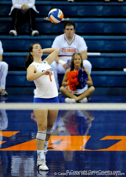 UF freshman Cindy Bathelt takes a serve in the first set. The Gators clinched their last home game with a 3-0 win over the Crimson Tide at the O'Connell Center on Saturday, November 23, 2008. (Casey Brooke Lawson / Gator Country)