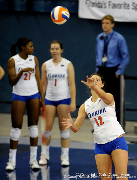 UF freshman Kelly Murphy takes a serve in the first set. The Gators clinched their last home game with a 3-0 win over the Crimson Tide at the O'Connell Center on Saturday, November 23, 2008. (Casey Brooke Lawson / Gator Country)