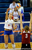 UF sophomore Callie Rivers spikes the ball back over the net to an Alabama player in the first set. The Gators clinched their last home game with a 3-0 win over the Crimson Tide at the O'Connell Center on Saturday, November 23, 2008. (Casey Brooke Lawson / Gator Country)