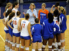 The 2008 UF volleyball team gather in a huddle with their Head Coach  Mary Wise after their last home game. The Gators clinched their last home game with a 3-0 win over the Crimson Tide at the O'Connell Center on Saturday, November 23, 2008. (Casey Brooke Lawson / Gator Country)