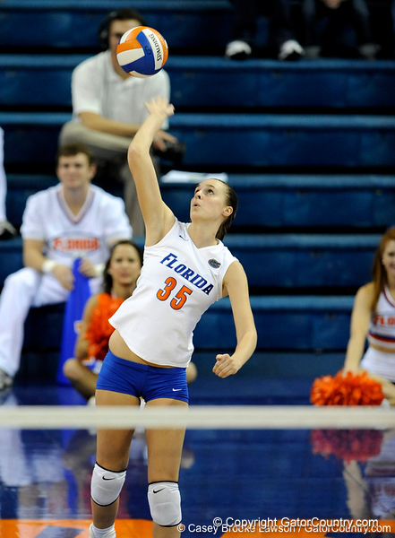 UF senior Kelsey Bowers takes a serve in the first set. The Gators clinched their last home game with a 3-0 win over the Crimson Tide at the O'Connell Center on Saturday, November 23, 2008. (Casey Brooke Lawson / Gator Country)