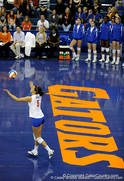 UF sophomore Callie Rivers prepares to serve during the third set. The Gators clinched their last home game with a 3-0 win over the Crimson Tide at the O'Connell Center on Saturday, November 23, 2008. (Casey Brooke Lawson / Gator Country)