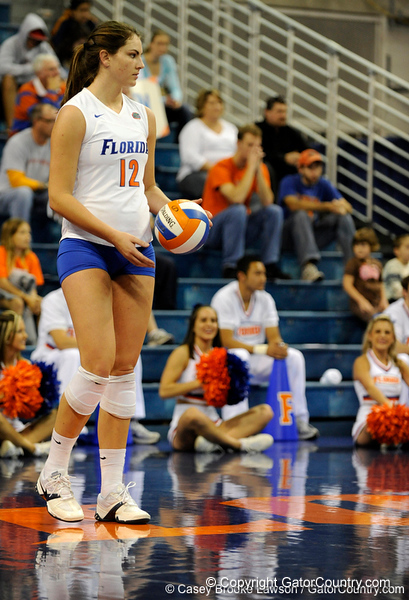 UF freshman Kelly Murphy prepares for her serve during the second set. The Gators clinched their last home game with a 3-0 win over the Crimson Tide at the O'Connell Center on Saturday, November 23, 2008. (Casey Brooke Lawson / Gator Country)