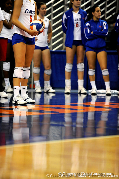 UF sophomore Callie Rivers prepares to take a serve during the second set. The Gators clinched their last home game with a 3-0 win over the Crimson Tide at the O'Connell Center on Saturday, November 23, 2008. (Casey Brooke Lawson / Gator Country)