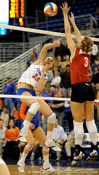 UF senior Kelsey Bowers spikes the ball to score a point over Alabama. The Gators clinched their last home game with a 3-0 win over the Crimson Tide at the O'Connell Center on Saturday, November 23, 2008. (Casey Brooke Lawson / Gator Country)