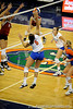UF sophomore Callie Rivers spikes the ball during the third set. The Gators clinched their last home game with a 3-0 win over the Crimson Tide at the O'Connell Center on Saturday, November 23, 2008. (Casey Brooke Lawson / Gator Country)