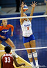 UF sophomore Callie Rivers misses a a shot by Alabama in the first set. The Gators clinched their last home game with a 3-0 win over the Crimson Tide at the O'Connell Center on Saturday, November 23, 2008. (Casey Brooke Lawson / Gator Country)