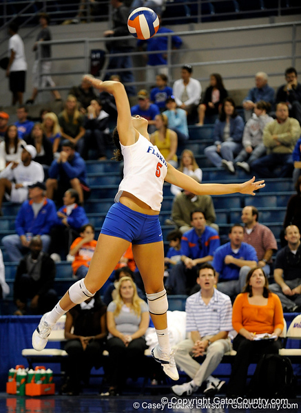 UF sophomore Callie Rivers takes a serve during the second set. The Gators clinched their last home game with a 3-0 win over the Crimson Tide at the O'Connell Center on Saturday, November 23, 2008. (Casey Brooke Lawson / Gator Country)