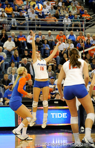 UF freshman Colleen Ward jumps to take a shot during the second set. The Gators clinched their last home game with a 3-0 win over the Crimson Tide at the O'Connell Center on Saturday, November 23, 2008. (Casey Brooke Lawson / Gator Country)