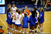 The 2008 UF volleyball team gather in a huddle after their last home game. The Gators clinched their last home game with a 3-0 win over the Crimson Tide at the O'Connell Center on Saturday, November 23, 2008. (Casey Brooke Lawson / Gator Country)