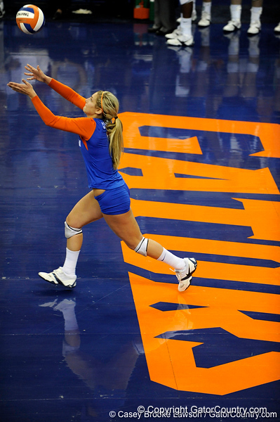 UF junior Elyse Cusack takes a serve during the third set. The Gators clinched their last home game with a 3-0 win over the Crimson Tide at the O'Connell Center on Saturday, November 23, 2008. (Casey Brooke Lawson / Gator Country)