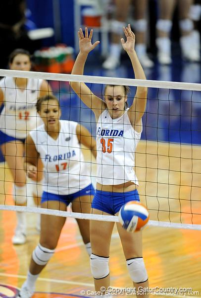 UF senior Kelsey Bowers spikes the ball the score a point during the first set. The Gators clinched their last home game with a 3-0 win over the Crimson Tide at the O'Connell Center on Saturday, November 23, 2008. (Casey Brooke Lawson / Gator Country)