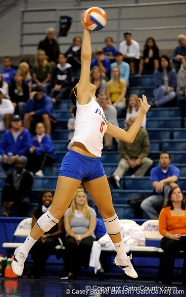 UF sophomore Callie Rivers takes a serve in the second set. The Gators clinched their last home game with a 3-0 win over the Crimson Tide at the O'Connell Center on Saturday, November 23, 2008. (Casey Brooke Lawson / Gator Country)