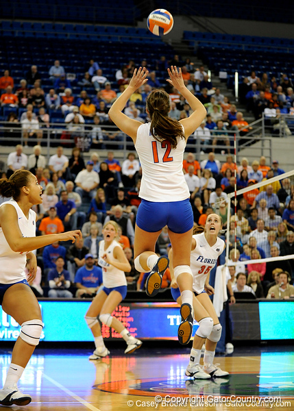 UF freshman Kelly Murphy jumps up to spike the ball during the second set. The Gators clinched their last home game with a 3-0 win over the Crimson Tide at the O'Connell Center on Saturday, November 23, 2008. (Casey Brooke Lawson / Gator Country)
