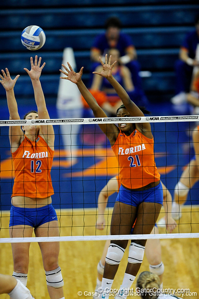 UF freshman Cassandra Anderson and freshman Kelly Murphy jump up to block a shot by Colorado State. The Gator's were triumphant over the Rams 3-0 in Gainesville, Fla on December 6, 2008. (Casey Brooke Lawson)