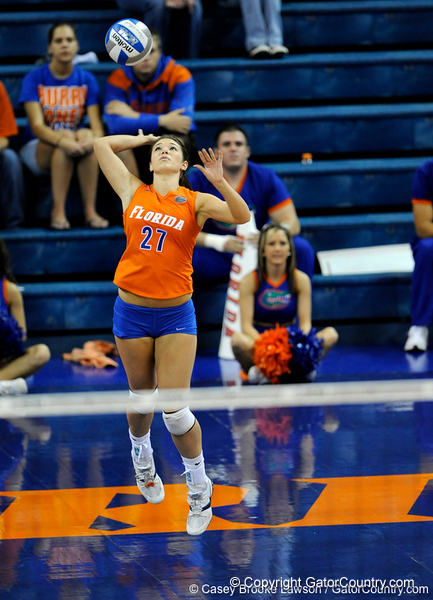 UF sophomore Erin Fleming serves the ball to Colorado State. The Gator's were triumphant over the Rams 3-0 in Gainesville, Fla on December 6, 2008. (Casey Brooke Lawson)