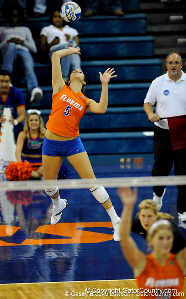 UF sophomore Callie Rivers serves the ball to Colorado State. The Gator's were triumphant over the Rams 3-0 in Gainesville, Fla on December 6, 2008. (Casey Brooke Lawson)