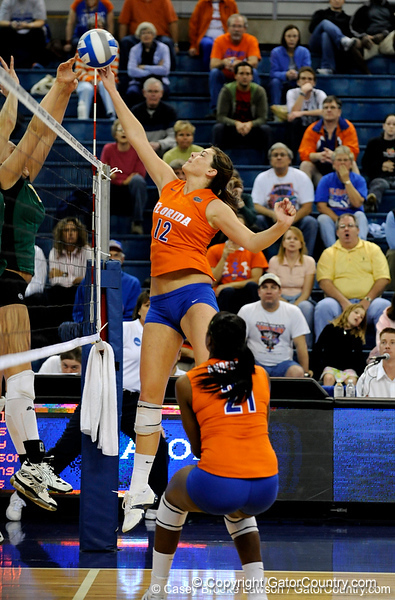 UF freshman Kelly Murphy hits the ball over the net. The Gator's were triumphant over the Colorado State Rams 3-0 in Gainesville, Fla on December 6, 2008. (Casey Brooke Lawson)