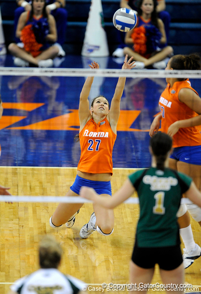 UF sophomore Erin Fleming hits the ground as she hits the ball to Colorado State. The Gator's were triumphant over the Rams 3-0 in Gainesville, Fla on December 6, 2008. (Casey Brooke Lawson)