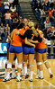 University of Florida volleyball team gather together in celebration after scoring a point in the first period of their game against Colorado State. The Gator's were triumphant over the Rams 3-0 in Gainesville, Fla on December 6, 2008. (Casey Brooke Lawson)