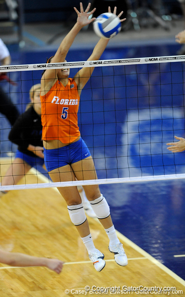 UF sophomore Callie Rivers spikes the ball back over the net to a Colorado State player. The Gator's were triumphant over the Rams 3-0 in Gainesville, Fla on December 6, 2008. (Casey Brooke Lawson)