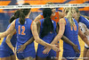 Florida redshirt sophomore outside hitter Kristy Jaeckel and teammates celebrate after a point during the third game of the Gators' 3-0 win against the UNLV Rebels on Friday, August 28, 2009 at the Stephen C. O'Connell Center in Gainesville, Fla / Gator Country photo by Tim Casey