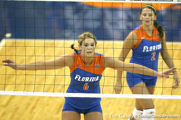 Florida redshirt sophomore outside hitter Kristy Jaeckel gets ready for a serve during the third game of the Gators' 3-0 win against the UNLV Rebels on Friday, August 28, 2009 at the Stephen C. O'Connell Center in Gainesville, Fla / Gator Country photo by Tim Casey