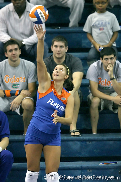 Florida junior setter Brynja Rodgers serves during the third game of the Gators' 3-0 win against the UNLV Rebels on Friday, August 28, 2009 at the Stephen C. O'Connell Center in Gainesville, Fla / Gator Country photo by Tim Casey