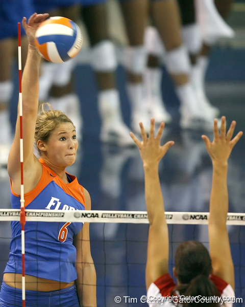Florida redshirt sophomore outside hitter Kristy Jaeckel goes up for a kill during the third game of the Gators' 3-0 win against the UNLV Rebels on Friday, August 28, 2009 at the Stephen C. O'Connell Center in Gainesville, Fla / Gator Country photo by Tim Casey